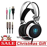 PC Gaming Headset with mic, 7.1 Surround Sound Earphones with 50mm Driver, 3.5mm Wired Over-Ear Headphones with Noise Cancelling, USB LED Light for PS4 Xbox One Laptops (Grey)