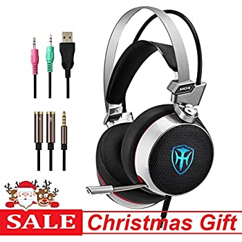 pc gaming headset with mic 71 surround sound earphones with 50mm driver 35mm