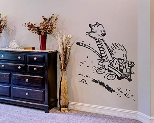 YttBuy Vinyl Wall Decal, Wall Stickers Art Decor, Calvin and Hobbes Riding Wall Decal, Peel and Stick Mural Removable Decals for Kids Boy Girl Room