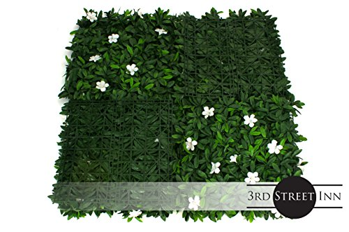 Artificial Hedge - Outdoor Artificial Plant - Great Boxwood and Ivy Substitute - Sound Diffuser Privacy Fence Hedge - Topiary Greenery Panels (12, White Cuckoo Flower) by Milltown Merchants (Image #2)