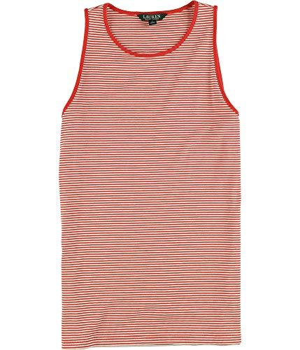 (Lauren Ralph Lauren Women's Striped Sleeveless Knit Shirt Tank Top-R-XL)