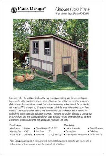 4'x6' Chicken Coop / Hen House Plans, Modern Roof Style (How to build a backyard chicken coop, design # 90406M) ebook
