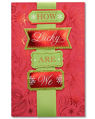 American Greetings How Lucky Are We Sentimental Christmas Card with Glitter