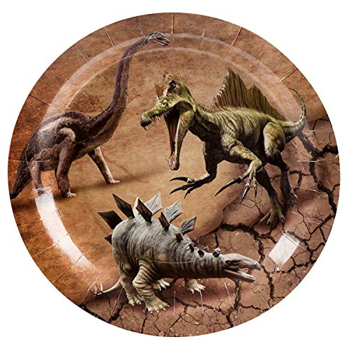 (Dinosaur Plates - 80-Pack Dino Plates with Jurassic Dino Print, Dinosaur Themed Kids Birthday Party Supplies, 9-Inch Round Cake Plates, Lunch,)