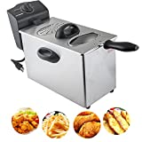 ixaer Electric Deep Fryer, 4L Electric Deep Fryer Single-tank Commercial Tabletop Restaurant Frying Basket for Restaurants, Dining Halls, Cafe and more (ship from USA)