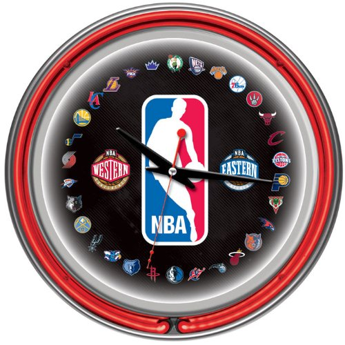 Deluxe NBA 30-Team Chrome Double Ring Neon Clock - Officially Licensed! by Trademark Global