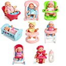 "Set Of 8 Assorted 5"" Mini Dolls, High Chair, Stroller, Crib, Car Seat, Bath, Potty, Swing,"