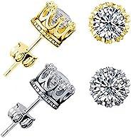 Txibi Fashion 2 Pair Gold Earrings for Men Women Mens Earrings Stud CZ Round Studs Earring Girls Crown Earring