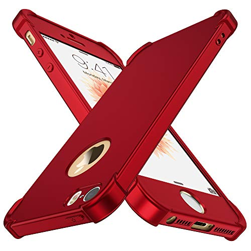 ORETECH iPhone 5 / 5S / SE Case,with [2 x Tempered Glass Screen Protector] 360° Full Body Ultra-Thin Shockproof iPhone SE /5S / 5 Cover Anti-Scratch Hard PC + Soft Silicone Rubber iPhone SE Case -Red