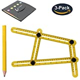 Angle Measurement Tool /Angle Ruler/Angle Finder/Template Tool Finder Ruler/Index Card with All Angles and Shapes for Craftsmen Handymen Builders Carpenter DIY(3pack)