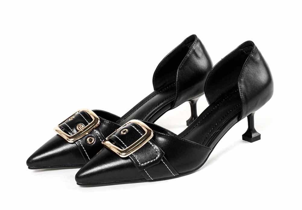 Frauen Mode Spitzen Sandalen 2018 Fruuml;hling Sommer Neue DOrsay Metall Schnalle Gericht Schuhe  38|Schwarz
