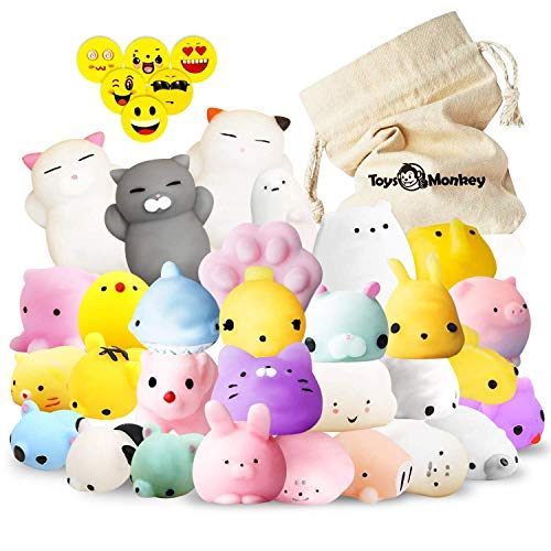 Mochi Squishy Toys, 20 Pcs Animals Stress Relief Kawaii Mini Squishies for Children, Adults, Goodie Bags, Party Favors & Decoration – 4 Smiley Erasers & A Storage Bag Included, Random