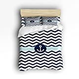 King Size Bedding Set- Navy Blue Chevron with Nautical Anchor Duvet Cover Set Bedspread for Childrens/Kids/Teens/Adults, 4 Piece 100 % Cotton