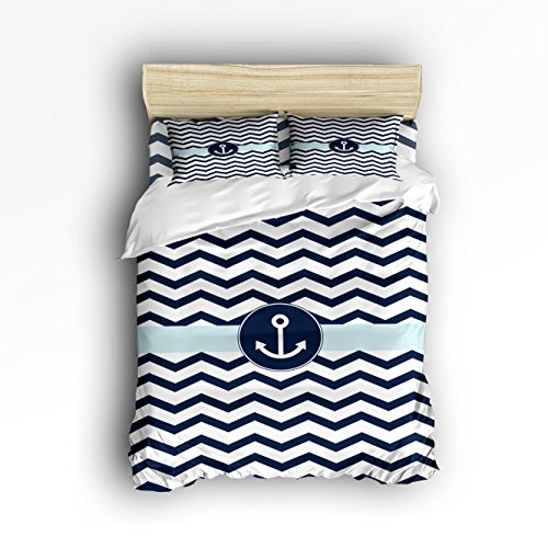Brushed Cotton Wave - (4 Pieces),Comfortable Soft Brushed Cotton,Duvet Cover Flat Sheet And 2 Pillowcases, Navy Blue Chevron with Nautical Anchor,Ocean Simple Waves Theme Queen Size