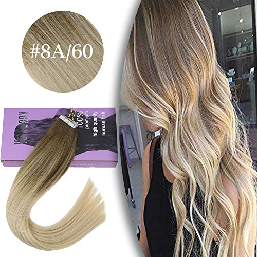 VeSunny Ombre Tape in Hair Extensions Blonde Human Hair 16inch Color #8 Light Brown Fading to #60 Platinum Blonde Balayage Tape in Remy Hair Extensions 20Pcs/50G (Ombre Hair Dark Brown To Light Blonde)