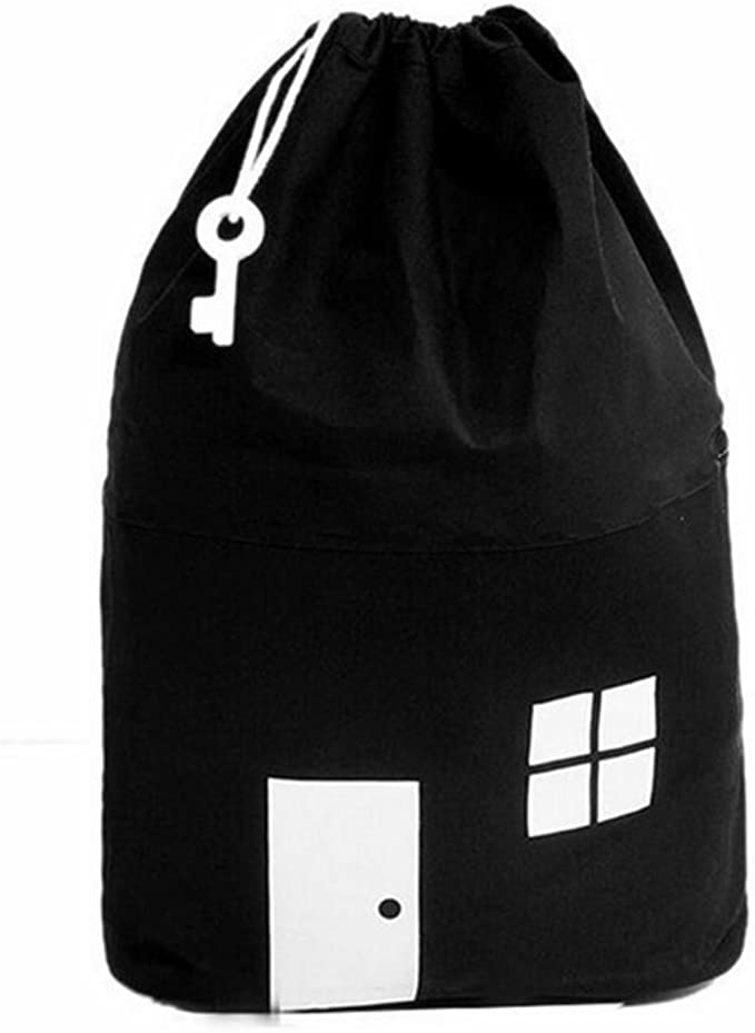 Hztyyier Toys Storage Bag Durable Massive Capacity Children Toys Storage Drawstring Bag House Appearance Outdoor Toys Carrying Bag Black