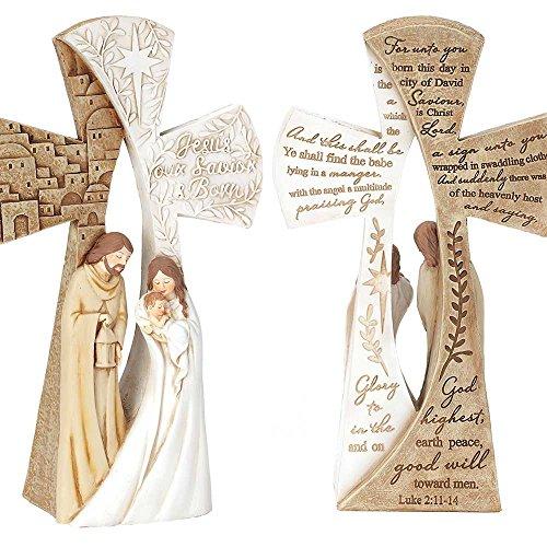 Dicksons Luke 2:11-14 Holy Family Two-Sided 4 x 6.75 Resin Christmas Nativity Tabletop Figurine - Family Christmas Figurines