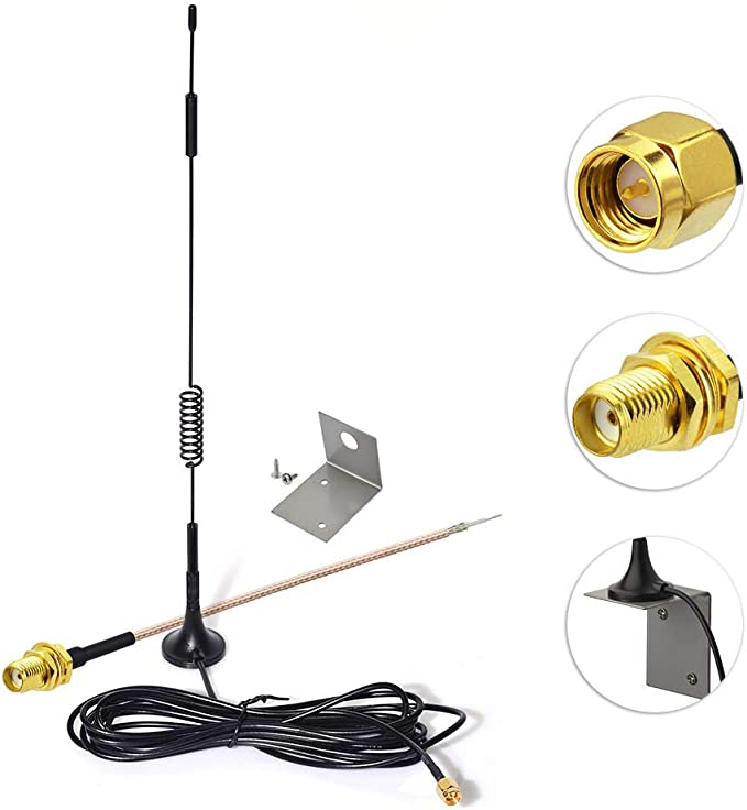 Eightwood 868mhz Antena 7dbi +SMA Cable 15cm+ Antena Montaje Base Soporte L Soporte for 4G Antena inalámbrica Homematic CCU2 CC1101 Netgear Sistema ...
