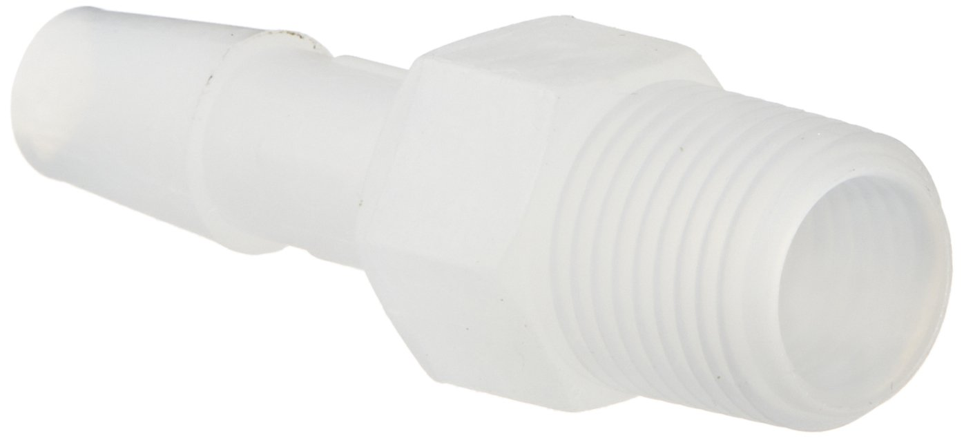 Eldon James A2-4NK Natural Kynar Adapter Fitting, 1/8-27 NPT to 1/4'' Hose Barb (Pack of 10)