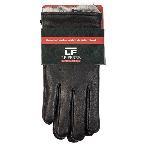 Ferre Leather (MEN'S LUXURY RABBIT FUR LINED GENUINE BLACK LEATHER GLOVES,Black,Small)