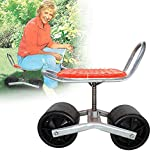 Low Rider Swivel Scoot, Rolling Garden Cart Scooter with Wheels, 360 Swivel Seat, Red