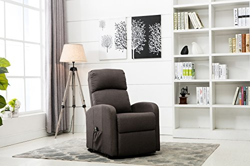 Divano Roma Furniture - Classic Plush Power Lift Recliner Living Room Chair (Dark (Classic Living Room Furniture)