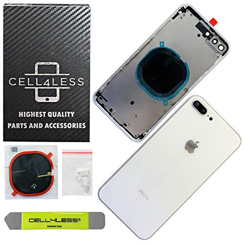 CELL4LESS Back Housing Assembly Metal Frame w/Back Glass - Wireless Charging pad - Sim Card Tray and Camera Frame and Lens for iPhone 8 Plus (White)