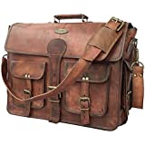 16 Inch Vintage Handmade Leather Messenger Bag For Laptop Briefcase Best Computer Satchel School Distressed Bag
