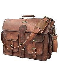 16 Inch Vintage Handmade Leather Messenger Bag for Laptop Briefcase Best Computer Satchel School distressed Bag