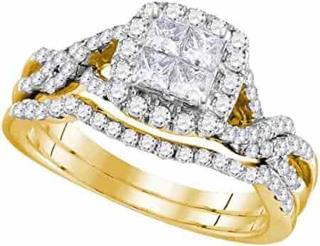 14kt Yellow Gold Womens Princess Diamond Twist Bridal Wedding Engagement Ring Band Set 1.00 Cttw