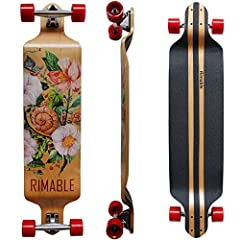 Cruise in style on the 41-inch Drop Down Longboard from Rimable. The drop-down deck offers more stability,  better turning control and easy push off.  Less distance to the ground for easy push off also helps lower fatigue. Ride it long distan...