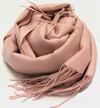 Allola Women's 100% All Cashmere Pashmina Ring Shawl Baby Pink