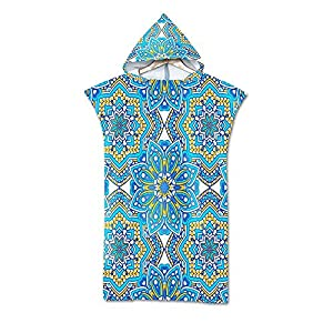 Stillshine Beach Towel Adult Robe Towel Poncho Hooded Blanket for Surfing Swimming Wetsuit Changing,Compact & Light…