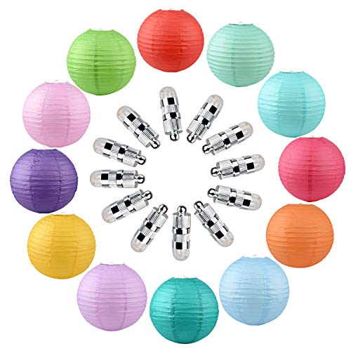 PinnacleT1 12 Pack 12 Inch Paper Lanterns with Extra LED String Lights,Hanging Round Decoration for Christmas,New Year, Party Supply Favors Baby Shower Weddings,Staging,Holiday