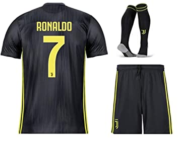 quality design 3e178 3079a Sybabyt Juventus Cristiano Ronaldo #7 Kids/Youths Third Soccer Jersey &  Short & Socks Kit Black