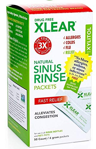Xlear Sinus Rinse Packets for Neti Pot (50 Count): Xylitol Saline Nasal Irrigation Premixed Refills - Revolutionary Formula for Congestion Relief, Stuffy Nose, Sinusitis, Colds, Allergies, Rhinitis