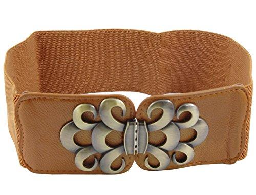 Tone Wave Pattern (Bronze Tone Wave Pattern Buckle Elastic Waist Belt Brown for Women)