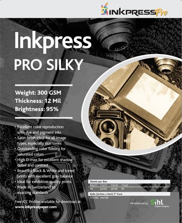 Inkpress Pro P3 Professional Pro Luster, Bright White Single Sided Inkjet Paper,300gsm, 12mil, 11x17