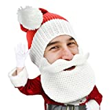 Beard Head Knitted Santa Beard Hat with Classic Funny Beard Facemask