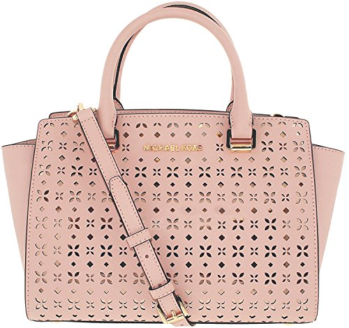 MICHAEL MICHAEL KORS Selma Medium Saffiano Leather Satchel (Medium, Perforated Blossom) by Michael Kors