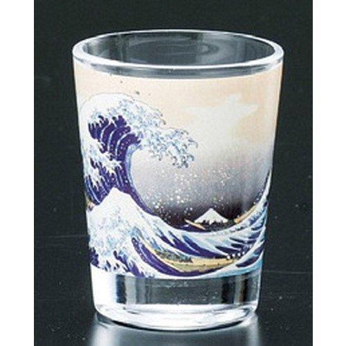 (Glass shot glass Kanagawa Inari wave [50 x 65 mm] Japanese souvenirs Ukiyo-e giftsArt Authentic Old Japan Beauty)