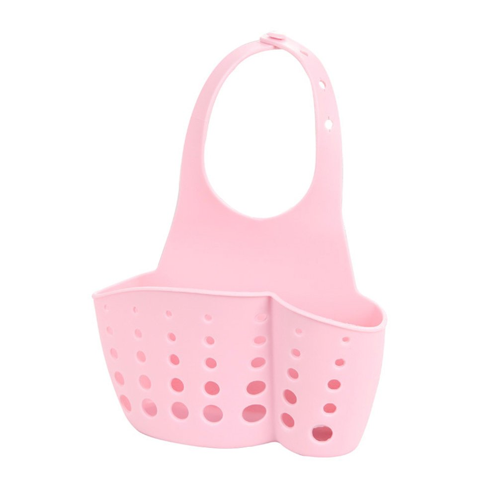 GerTong Kitchen Sink Storage Bag Basket Durable Hanger Holder Storage Holder Sink Sponge Drainer Rack Basket Cutlery Container Bathroom Organizer,Pink