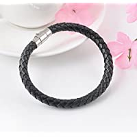 1Pc Fashion Unisex Mens Braided Leather Wristband Steel Magnetic Clasp Bracelet EW