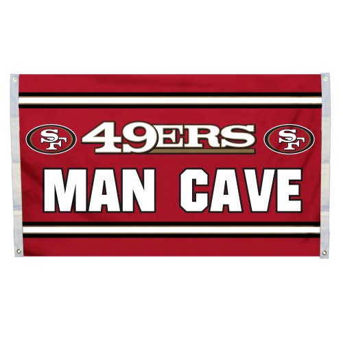 NFL San Francisco 49ers Man Cave Flag with 4 Grommets, 3 x 5