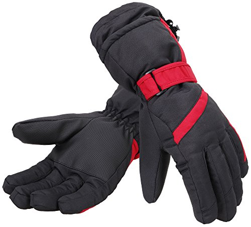[Simplicity Women 3M Thinsulate Lined Waterproof Ski Gloves,M,Black Red] (Ski Costumes)