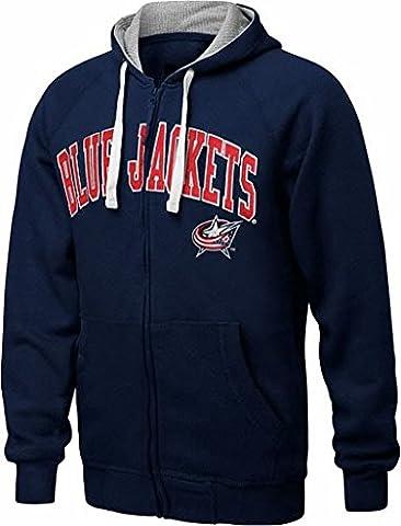 Columbus Blue Jackets NHL Mens Step One Full Zip Hoodie Sweatshirt Navy Blue Adult Sizes (2XL) - Full Zip Hockey Hoody