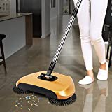 Anvey Automatic Hand Push Sweeper 360-degree rotating Built-in Rotating Brushes Automatic Sweeping Machine ,Dustpan and Trash Bin 3 in 1 Floor Cleaning System