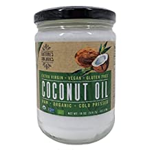 Nature's Organics Raw Organic Cold Pressed Extra Virgin Coconut Oil Glass Jar, 532.2 mL/18 oz.