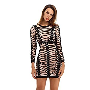 whoinshop Women's Long Sleeves Eyelet and Rouleau Lace-Up Bodycon Dress