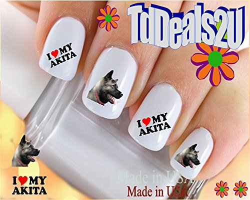 - Dog Breed - Akita I Love my Akita Nail Decals - WaterSlide Nail Art Decals - Highest Quality! Made in USA